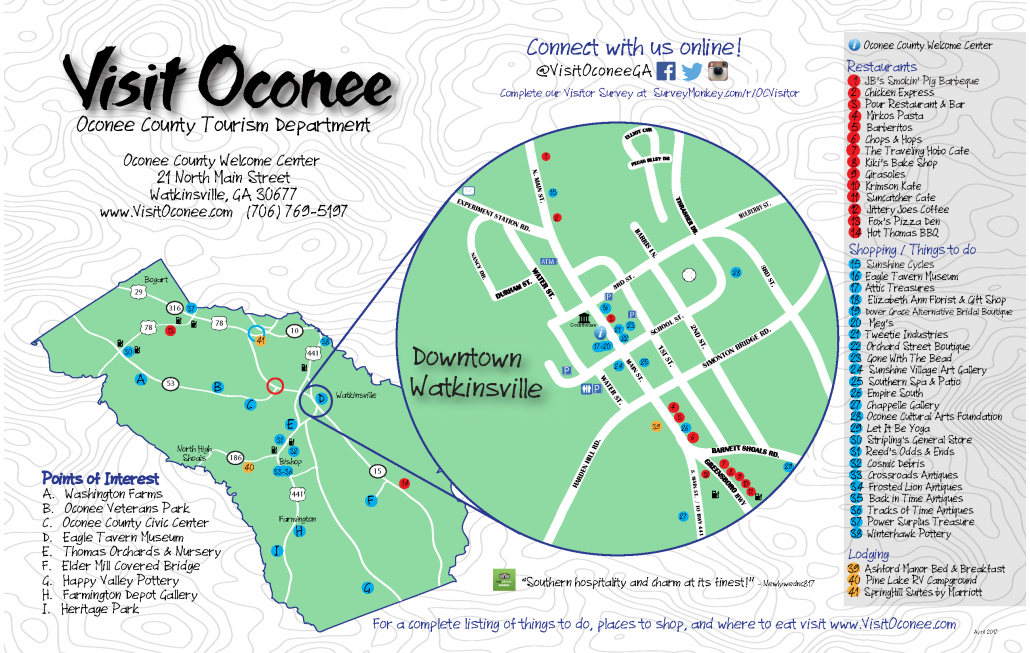 Oconee County Visitors Map (Front)